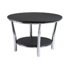 Maya round coffee table, black top, metal legs
