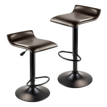 Paris Set of 2 Airlift Adjustable Swivel Stool with PU Leather Seat and Black Metal Base