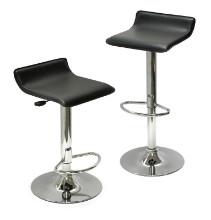 Spectrum set of 2, adjustable air lift stool, black faux leather, rta