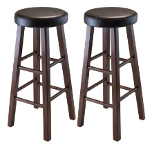 Marta Set of 2 Round Bar Stool, PU Leather Cushion Seat, Square Legs, Assembled