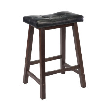 94064 Mona Cushion Saddle Seat Counter Stool, Black & Walnut