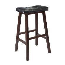 "Mona 29"" Cushion Saddle Seat Stool, Black, Faux Leather, RTA"