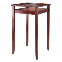 Halo Pub Table with Glass Inset & Shelf, Walnut