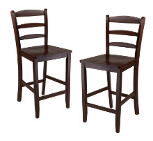 "Benjamin 2-PC Ladder Back 24"" Counter Stool Set Antique Walnut"