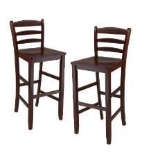 "Benjamin 2-pc ladder back 30"" bar stool set antique walnut"