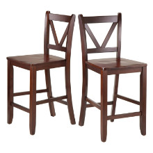 94253 Victor V-back Counter Stools, 2-Pc Set, Walnut