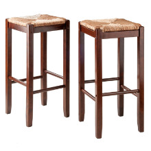 94280 Kaden Rush Seat Bar Stools, 2-Pc Set, Walnut