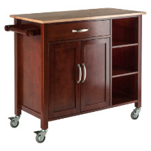 94843 Mabel Utility Kitchen Cart, Natural & Walnut