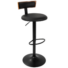 Weller Contemporary Barstool with Black Frame, Walnut Wood, and White PU