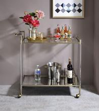 Acme AC00160 Neilo Orren ellis metallic finish metal frame and acrylic legs glass shelves kitchen island tea / bar cart
