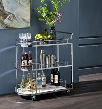 Acme AC00161 Neilo Orren ellis silver metallic finish metal frame two glass shelves and faux marble kitchen island tea / bar cart