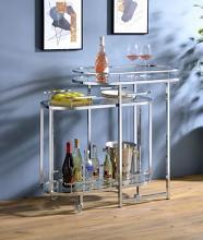 Acme AC00162 Piffo Orren ellis chrome finish metal frame glass top sofa entry hall console table with nesting tea cart
