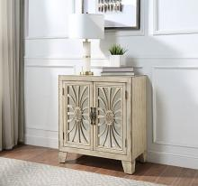 Acme AC00197 One allium way railsback antique beige finish wood bombay chest with mirror front cabinet doors