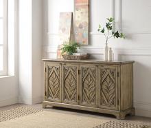 Acme AC00198 Rosalind wheeler hanzila orana antique oak finish wood bombay chest with carved front cabinet doors