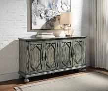 Acme AC00199 Rosalind wheeler hanny pavan antique grey finish wood bombay chest with carved front cabinet doors