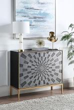 Acme AC00200 Everly quinn birchard quilla grey finish gold trim bombay chest with carved front cabinet doors