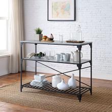 Acme AC00272 House of Hampton Jakob dark finish metal frame faux marble top kitchen island cart