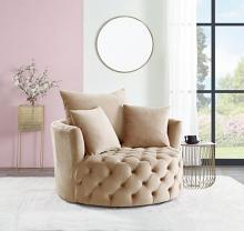 Acme AC00290 Zunyas beige velvet tufted fabric round swivel barrell back chair with accent pillows
