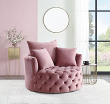 Acme AC00291 Zunyas pink velvet tufted fabric round swivel barrell back chair with accent pillows