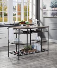 Acme AC00325 House of Hampton Lona dark finish metal frame brown finish wood top kitchen island cart
