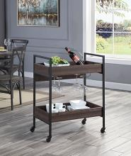 Acme AC00326 17 stories jerrick dark metal finish wood shelves tea / bar serving cart