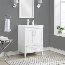 Acme AC00381 Red barrel studio surry white finish wood cabinet marble top bathroom vanity sink cabinet