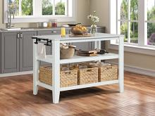 Acme AC00395 House of Hampton Sezye white finish wood frame faux marble top kitchen island cart with baskets