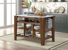 Acme AC00396 House of Hampton Alaroa brown finish wood frame faux marble top kitchen island cart with wine racks