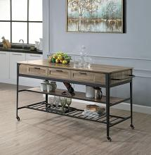Acme AC00402 Gracie oaks macaria dark finish metal frame and wood top and shelves kitchen island cart