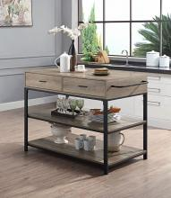 Acme AC00403 Gracie oaks macaria dark finish metal frame and wood top and shelves kitchen island cart with drawers
