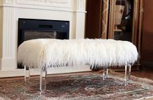 Best Quality AC716 Francis white faux fur acrylic legs large bedroom bench