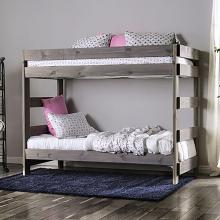 AM-BK100GY Arlette rustic gray wood finish twin over twin bunk bed with solid pine construction