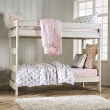 AM-BK100WH Arlette rustic white wood finish twin over twin bunk bed with solid pine construction