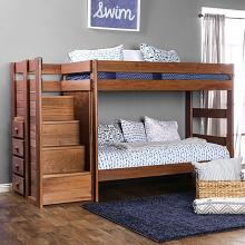 AM-BK102 Ampelios rustic wood finish twin over twin bunk bed with staircase with drawers