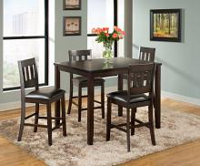 VH-525-5PC 5 pc Gracie oaks americano dark brown finish wood counter height dining table set
