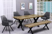 Best master BA221-grey-6pc 6 pc Brandon rustic natural finish wood dining table set