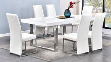 Best master BA222-white-7pc 7 pc Broadway white high gloss finish and chrome modern dining table set