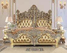 Acme BD00451EK Astoria grand seville antique gold finish wood french inspired ornate eastern king bed