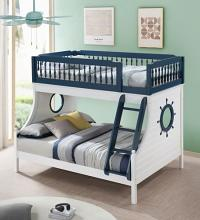 Acme BD00493 Isabella & Max dorian farah navy blue and white finish wood twin over full nautical themed bunk bed set
