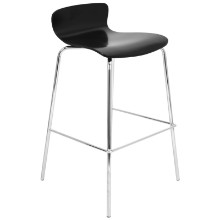 Woodstacker Stackable Contemporary Barstool - Set Of 2 in Black