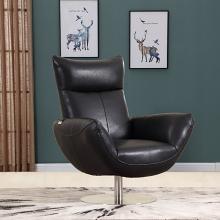 C74-Black Orren ellis amador Divanitalia mid century modern black top grain italian leather accent chair