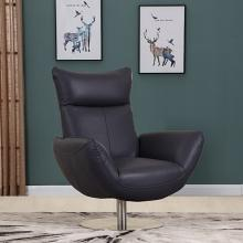 C74-Navy Orren ellis amador Divanitalia mid century modern navy top grain italian leather accent chair