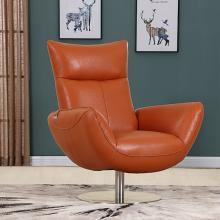 C74-Orange Orren ellis amador Divanitalia mid century modern orange top grain italian leather accent chair