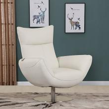 C74-White Orren ellis amador Divanitalia mid century modern white top grain italian leather accent chair