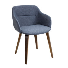 Campania Mid-century Modern Chair in Walnut and Blue