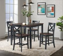 VH-515-5PC 5 pc Gracie oaks carmel two tone black and brown finish wood counter height dining table set
