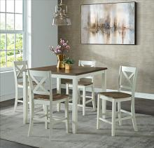 VH-585-5PC 5 pc Gracie oaks carmel two tone white and brown finish wood counter height dining table set