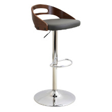 Cassis Height Adjustable Mid-century Modern Barstool with Swivel in Walnut and Grey