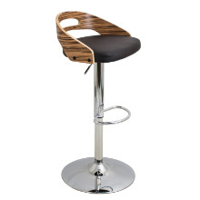 Cassis Height Adjustable Mid-century Modern Barstool with Swivel in Zebra and Brown