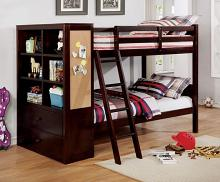 CM-BK266EX Dero kids athena dark walnut finish wood twin over twin bunk bed with bookcase headboard